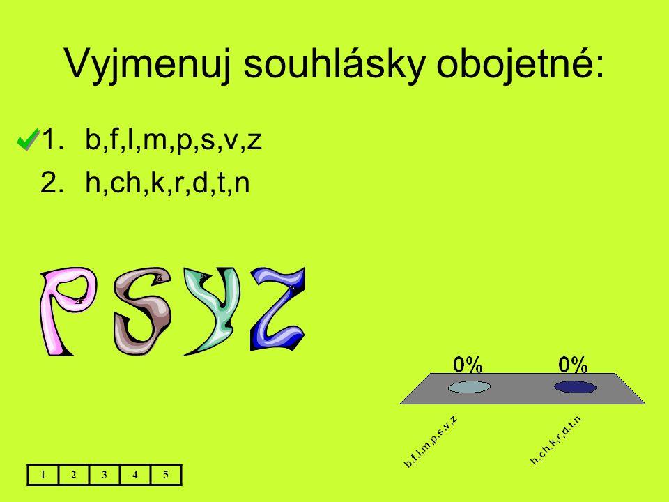 Vyjmenuj souhlásky obojetné: 12345 1.b,f,l,m,p,s,v,z 2.h,ch,k,r,d,t,n