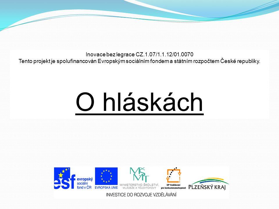 Inovace bez legrace CZ.1.07/1.1.12/01.0070 Tento projekt je spolufinancován Evropským sociálním fondem a státním rozpočtem České republiky. O hláskách