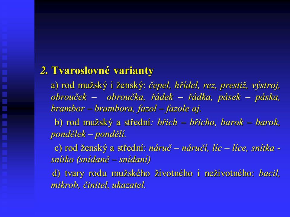 Varianty slova 1. Hláskové varianty 1. Hláskové varianty a) samohlásky různé kvantity: déšť – dešť, dvéře – dveře, slévač – slevač, brankář – brankař,