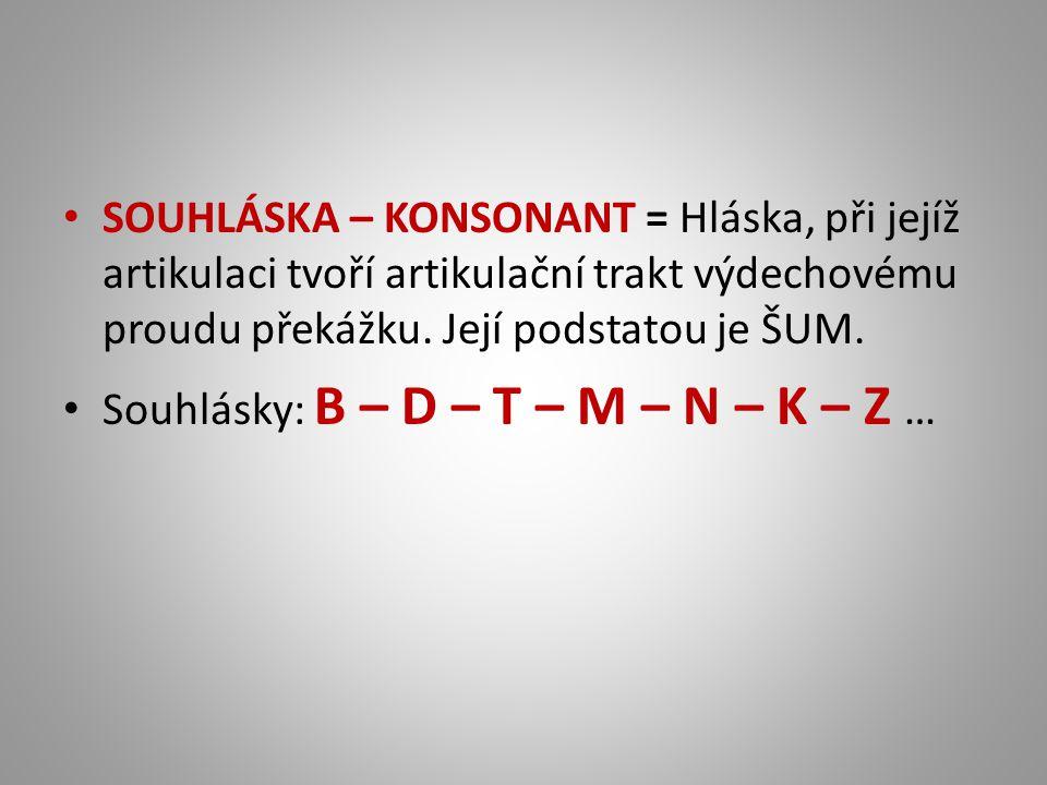 SOUHLÁSKA – KONSONANT = Hláska, při jejíž artikulaci tvoří artikulační trakt výdechovému proudu překážku. Její podstatou je ŠUM. Souhlásky: B – D – T