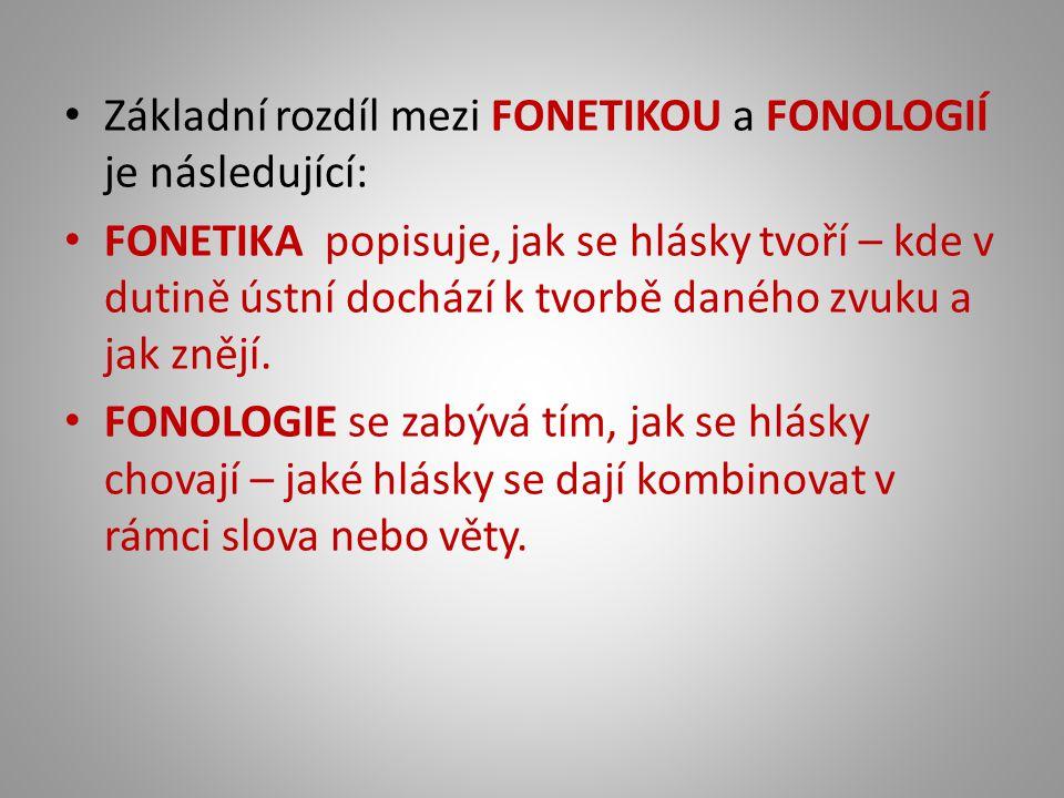 Základní rozdíl mezi FONETIKOU a FONOLOGIÍ je následující: FONETIKA popisuje, jak se hlásky tvoří – kde v dutině ústní dochází k tvorbě daného zvuku a