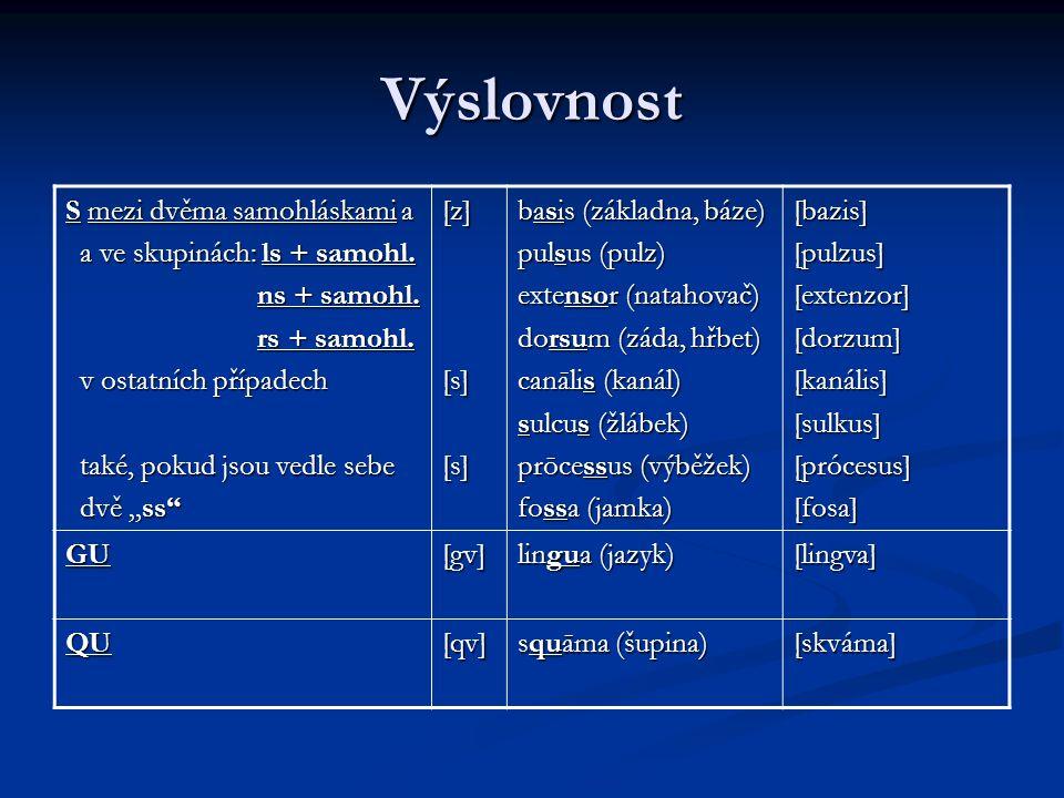 Výslovnost S mezi dvěma samohláskami a a ve skupinách: ls + samohl.