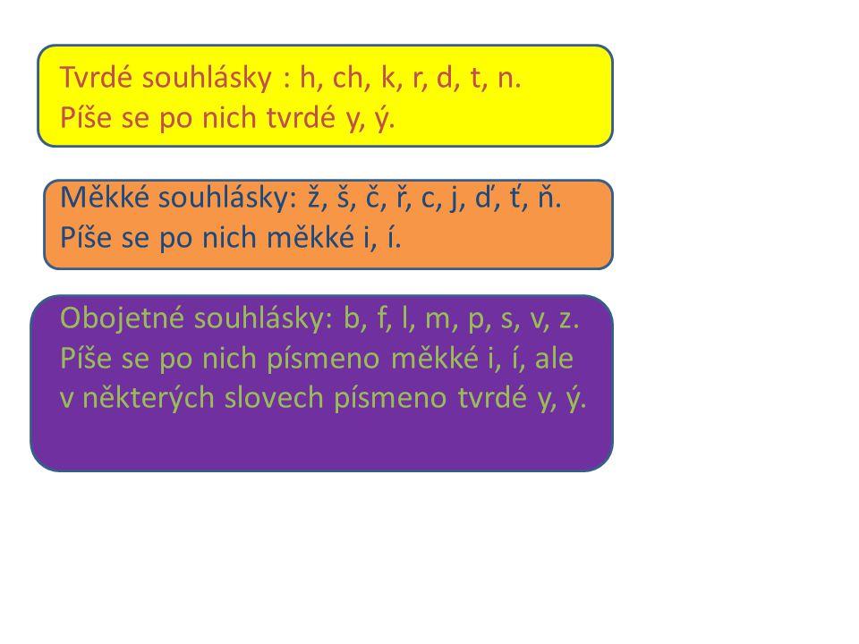 Tvrdé souhlásky : h, ch, k, r, d, t, n. Píše se po nich tvrdé y, ý.