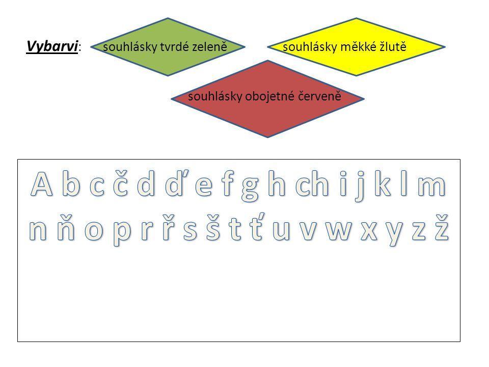 Vybarvi : souhlásky tvrdé zeleně souhlásky měkké žlutě souhlásky obojetné červeně