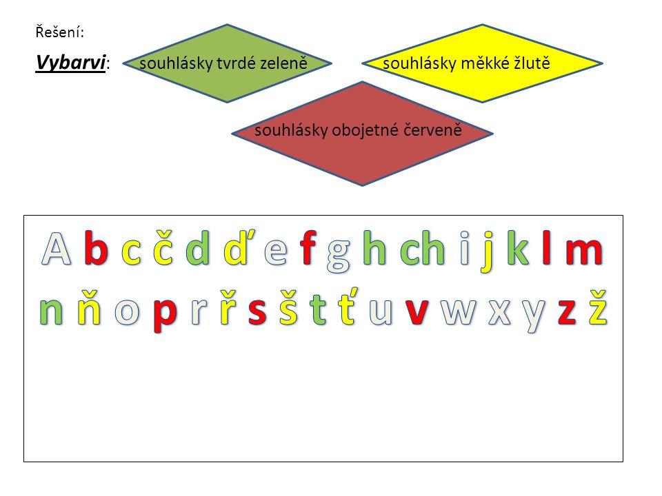 Vybarvi : souhlásky tvrdé zeleně souhlásky měkké žlutě souhlásky obojetné červeně Řešení: