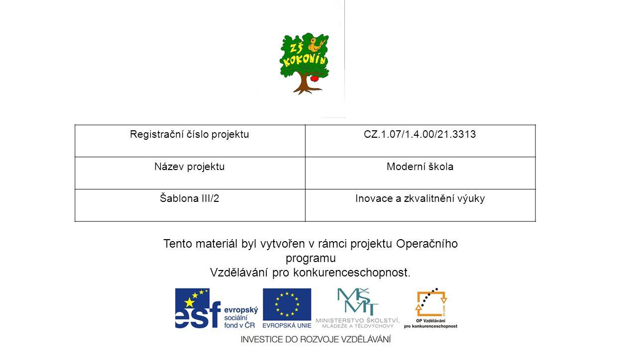 Tento materiál byl vytvořen v rámci projektu Operačního programu Vzdělávání pro konkurenceschopnost. Registrační číslo projektuCZ.1.07/1.4.00/21.3313