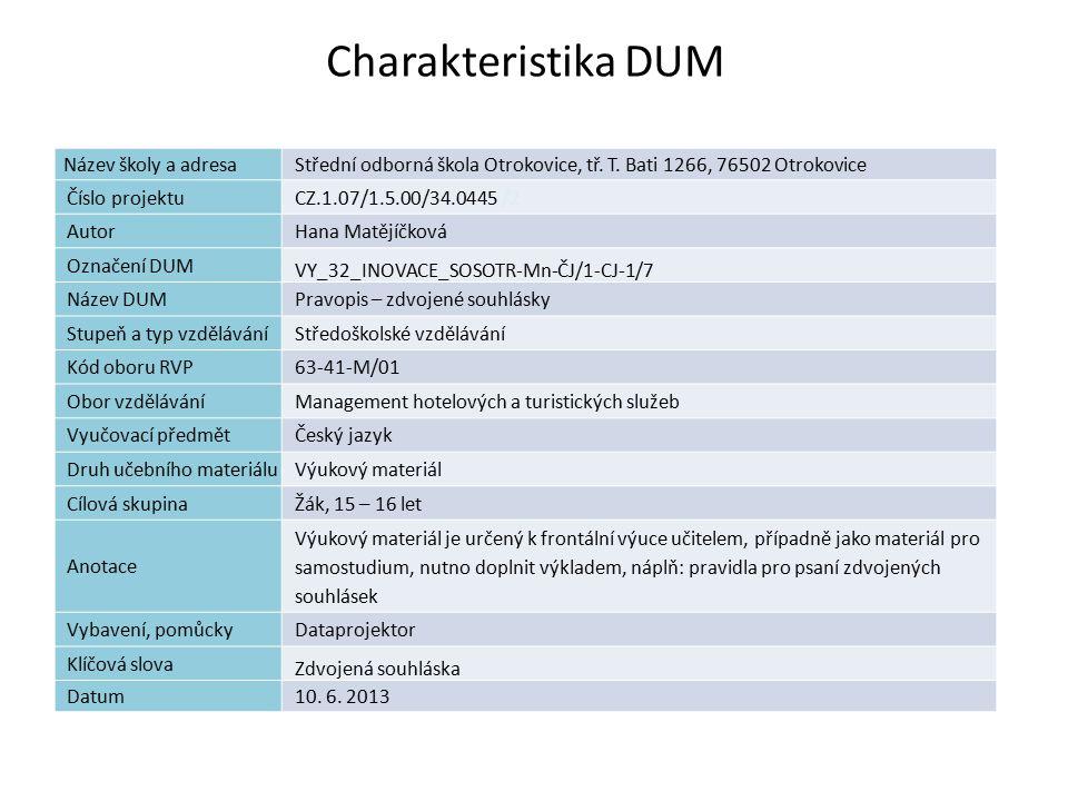 Pravopis – zdvojené souhlásky Náplň výuky: Vznik zdvojených souhlásek Skupina -nn- Výslovnost a význam slova Psaní -n-