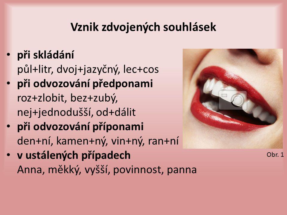 Vznik zdvojených souhlásek při skládání půl+litr, dvoj+jazyčný, lec+cos při odvozování předponami roz+zlobit, bez+zubý, nej+jednodušší, od+dálit při o
