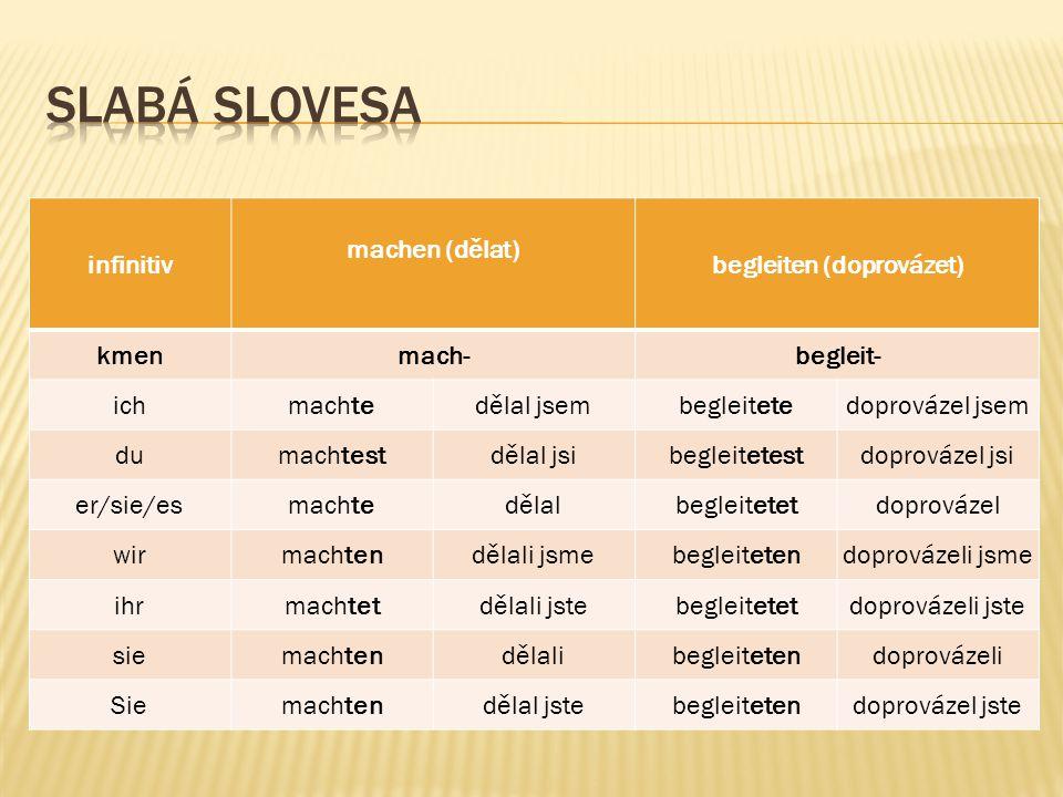  u silných slovesech v préteritu dochází vždy ke změně kmenové souhlásky  koncovky jsou stejné jako u přítomného času, pouze tvary 1.