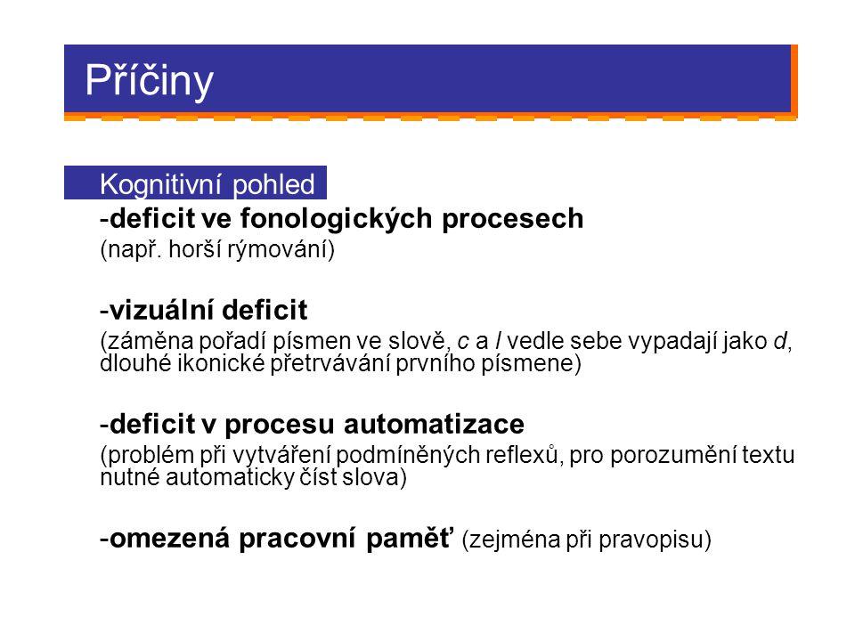 Příčiny Kognitivní pohled -deficit ve fonologických procesech (např. horší rýmování) -vizuální deficit (záměna pořadí písmen ve slově, c a l vedle seb
