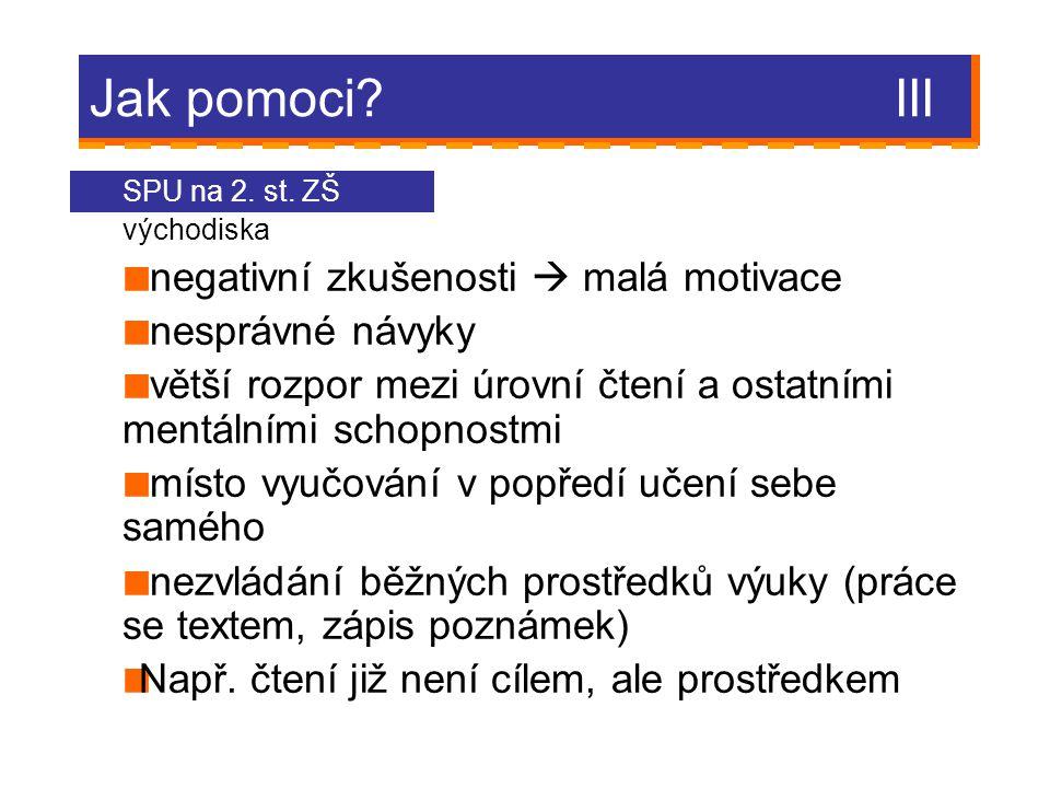Jak pomoci.III SPU na 2. st.