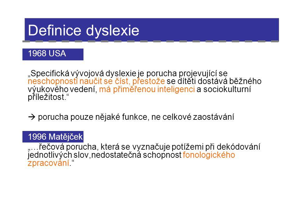 """Definice dyslexie 1968 USA """"Specifická vývojová dyslexie je porucha projevující se neschopností naučit se číst, přestože se dítěti dostává běžného výu"""