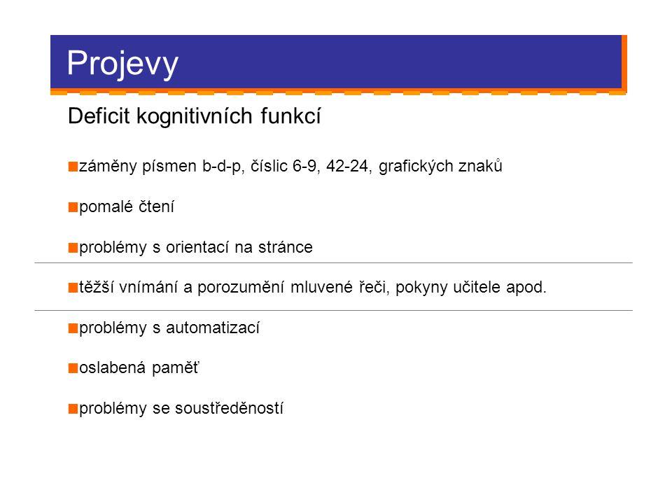 Projevy Deficit kognitivních funkcí záměny písmen b-d-p, číslic 6-9, 42-24, grafických znaků pomalé čtení problémy s orientací na stránce těžší vnímán