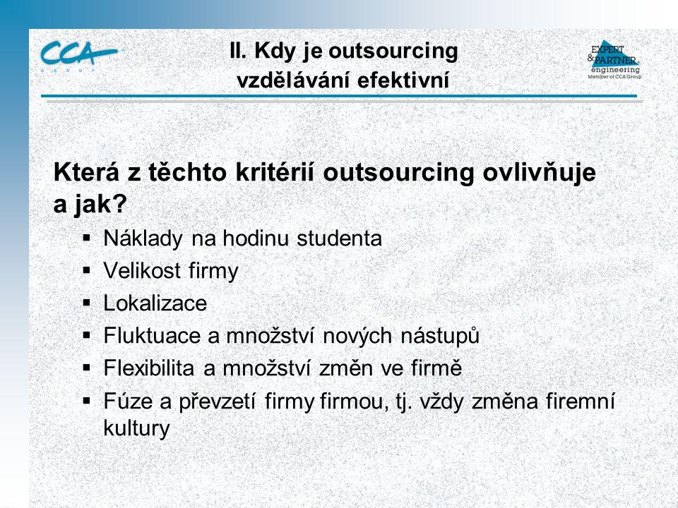 II. Kdy je outsourcing vzdělávání efektivní Která z těchto kritérií outsourcing ovlivňuje a jak.