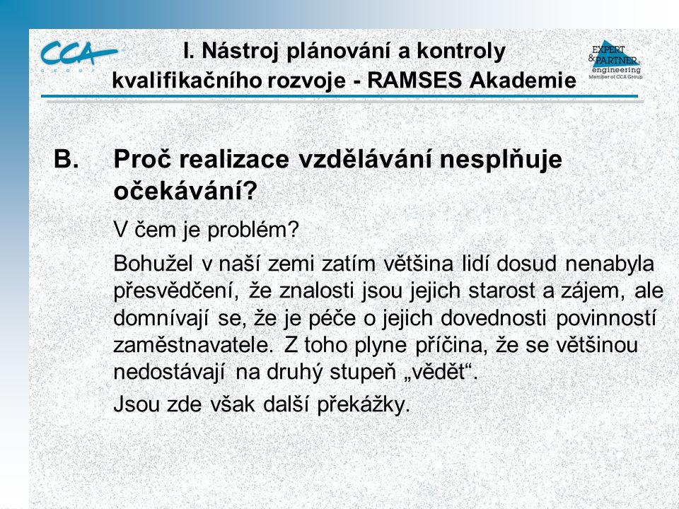 I. Nástroj plánování a kontroly kvalifikačního rozvoje - RAMSES Akademie B.Proč realizace vzdělávání nesplňuje očekávání? V čem je problém? Bohužel v