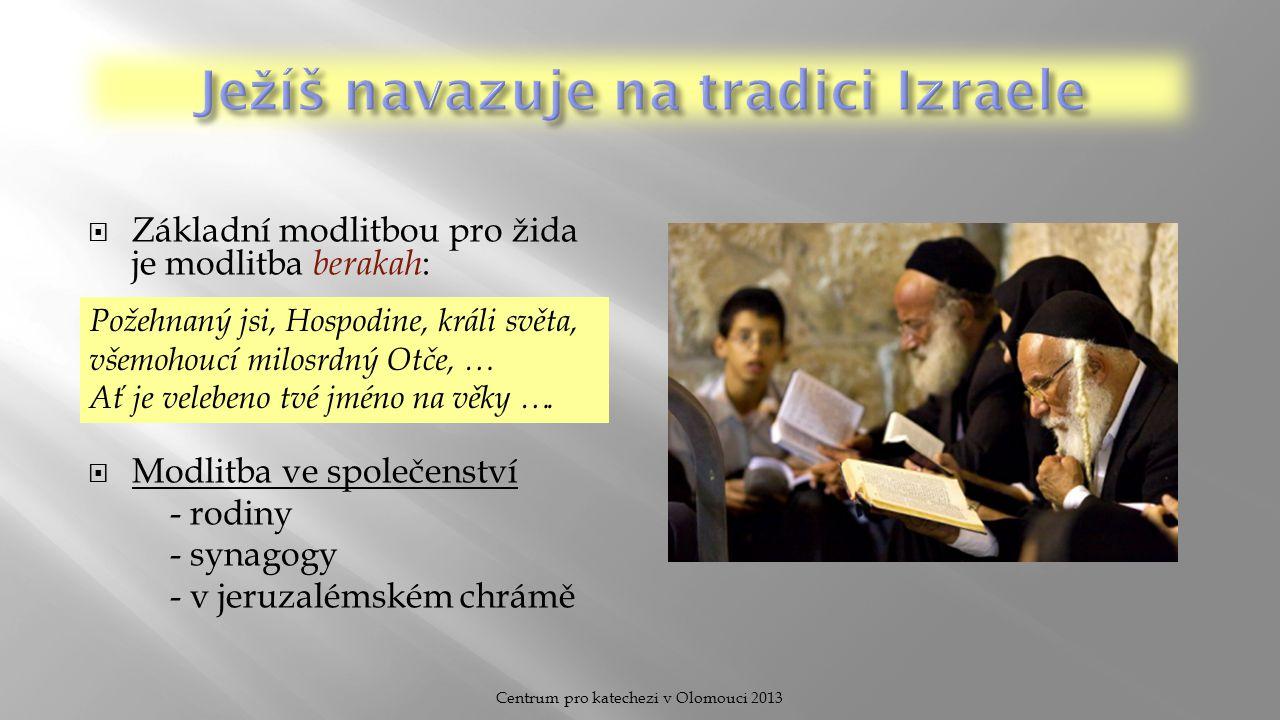  Základní modlitbou pro žida je modlitba berakah :  Modlitba ve společenství - rodiny - synagogy - v jeruzalémském chrámě Požehnaný jsi, Hospodine,