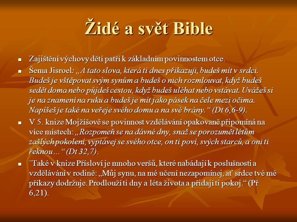 Židé a svět Bible Zajištění výchovy dětí patří k základním povinnostem otce.