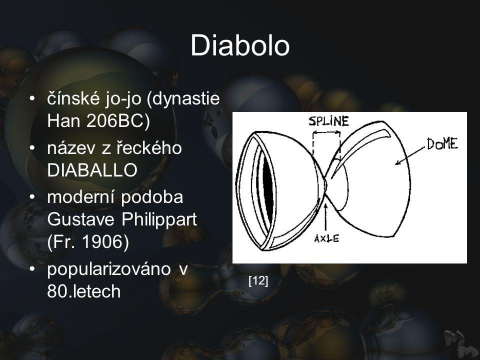 Diabolo čínské jo-jo (dynastie Han 206BC) název z řeckého DIABALLO moderní podoba Gustave Philippart (Fr. 1906) popularizováno v 80.letech [12]