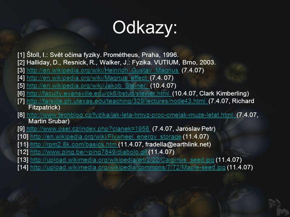 Odkazy: [1] Štoll, I.: Svět očima fyziky. Prométheus, Praha, 1996. [2] Halliday, D., Resnick, R., Walker, J.: Fyzika. VUTIUM, Brno, 2003. [3] http://e