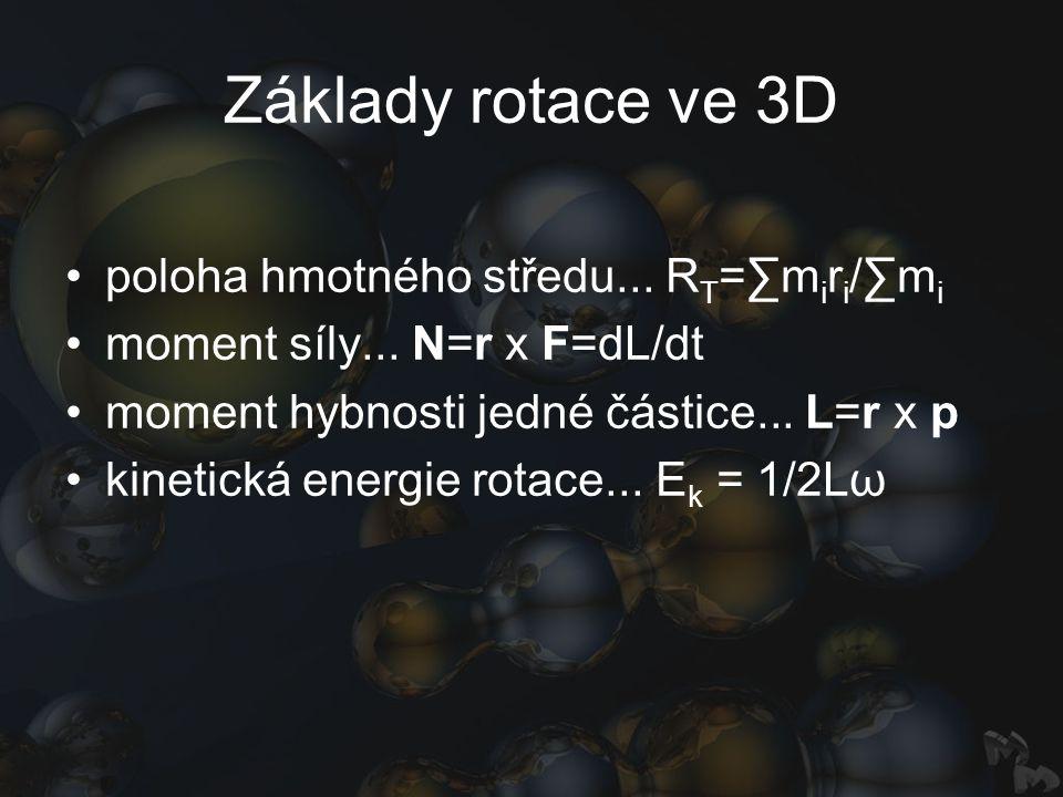 Základy rotace ve 3D poloha hmotného středu... R T =∑m i r i /∑m i moment síly... N=r x F=dL/dt moment hybnosti jedné částice... L=r x p kinetická ene
