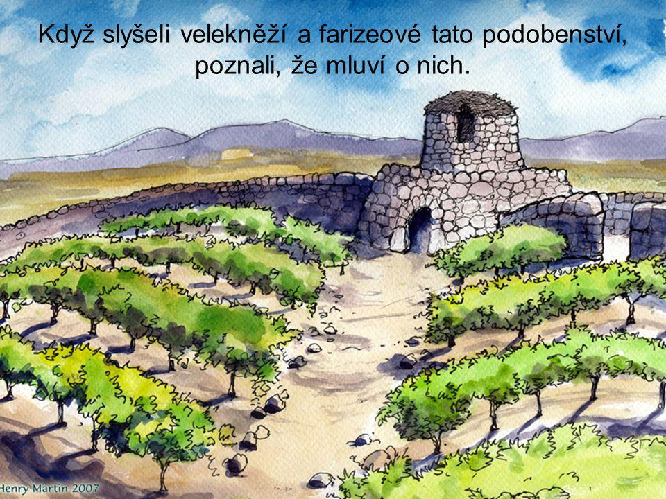 Když slyšeli velekněží a farizeové tato podobenství, poznali, že mluví o nich.