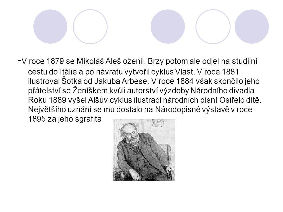 - V roce 1879 se Mikoláš Aleš oženil.