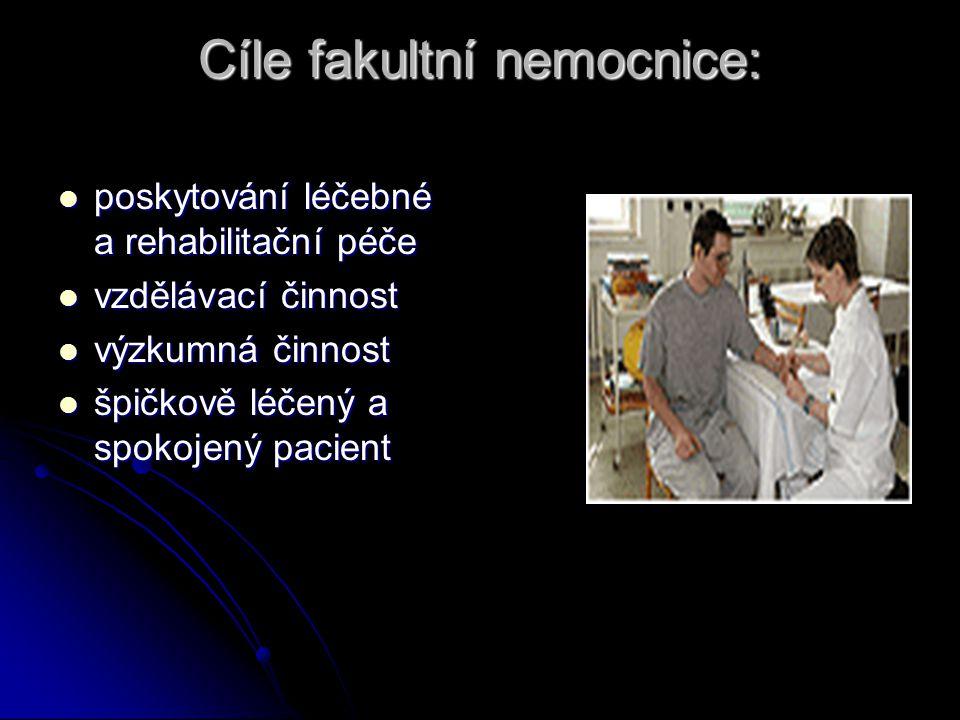 Cíle fakultní nemocnice: poskytování léčebné a rehabilitační péče poskytování léčebné a rehabilitační péče vzdělávací činnost vzdělávací činnost výzku