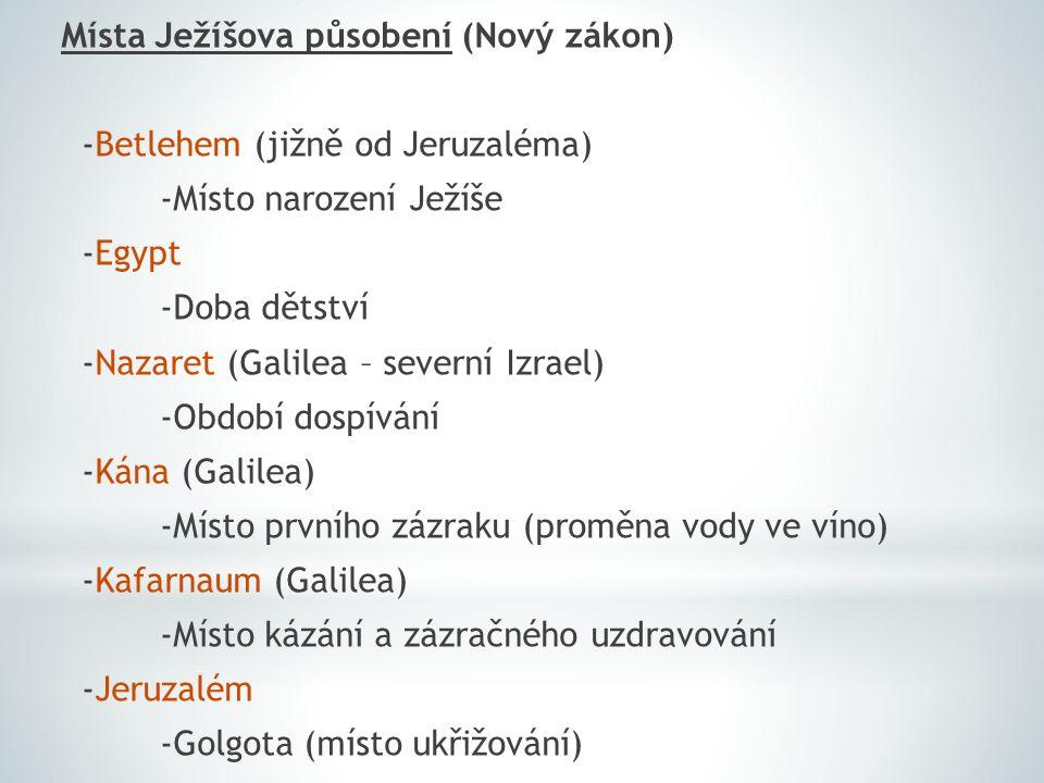 Místa Ježíšova působení (Nový zákon) -Betlehem (jižně od Jeruzaléma) -Místo narození Ježíše -Egypt -Doba dětství -Nazaret (Galilea – severní Izrael) -