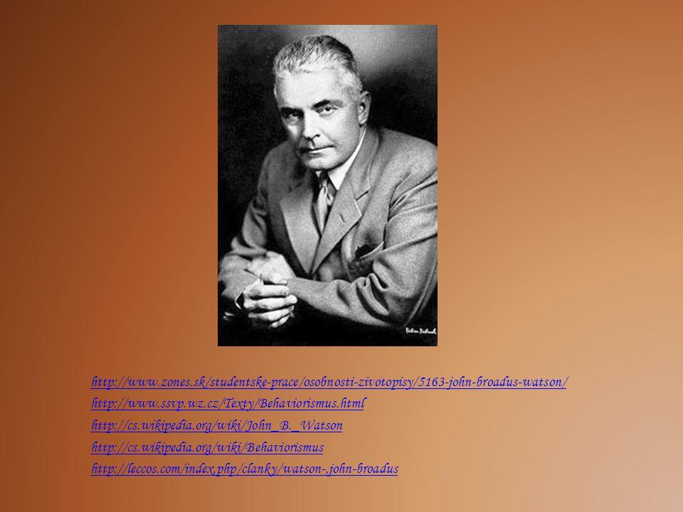 http://www.zones.sk/studentske-prace/osobnosti-zivotopisy/5163-john-broadus-watson/ http://www.ssvp.wz.cz/Texty/Behaviorismus.html http://cs.wikipedia