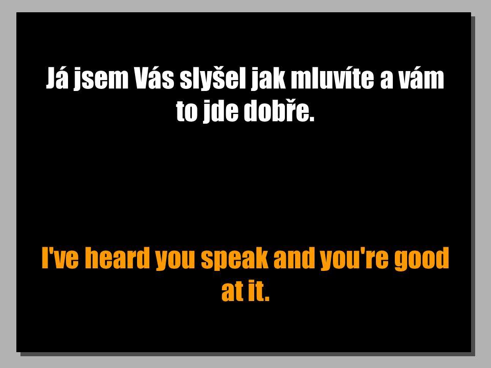 Já jsem Vás slyšel jak mluvíte a vám to jde dobře. I ve heard you speak and you re good at it.