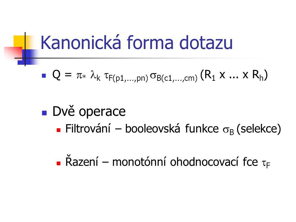Kanonická forma dotazu Q =  * k  F(p1,...,pn)  B(c1,...,cm) (R 1 x...