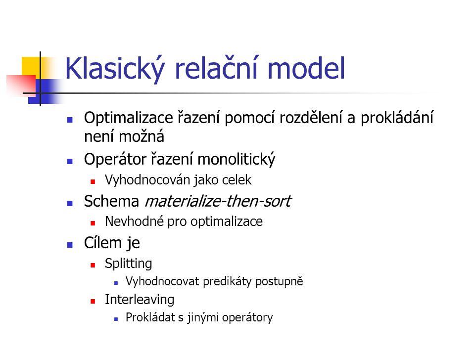 Klasický relační model Optimalizace řazení pomocí rozdělení a prokládání není možná Operátor řazení monolitický Vyhodnocován jako celek Schema materialize-then-sort Nevhodné pro optimalizace Cílem je Splitting Vyhodnocovat predikáty postupně Interleaving Prokládat s jinými operátory