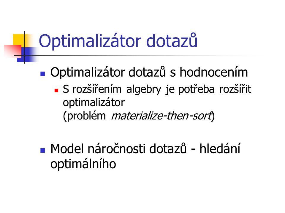 Optimalizátor dotazů s hodnocením S rozšířením algebry je potřeba rozšířit optimalizátor (problém materialize-then-sort) Model náročnosti dotazů - hledání optimálního