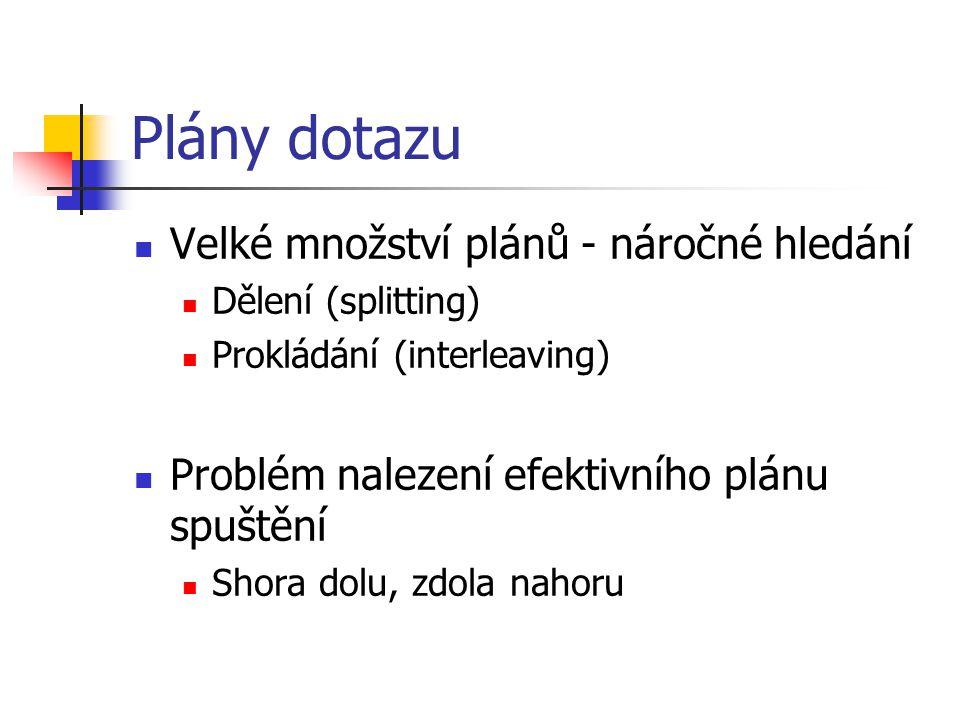 Plány dotazu Velké množství plánů - náročné hledání Dělení (splitting) Prokládání (interleaving) Problém nalezení efektivního plánu spuštění Shora dolu, zdola nahoru