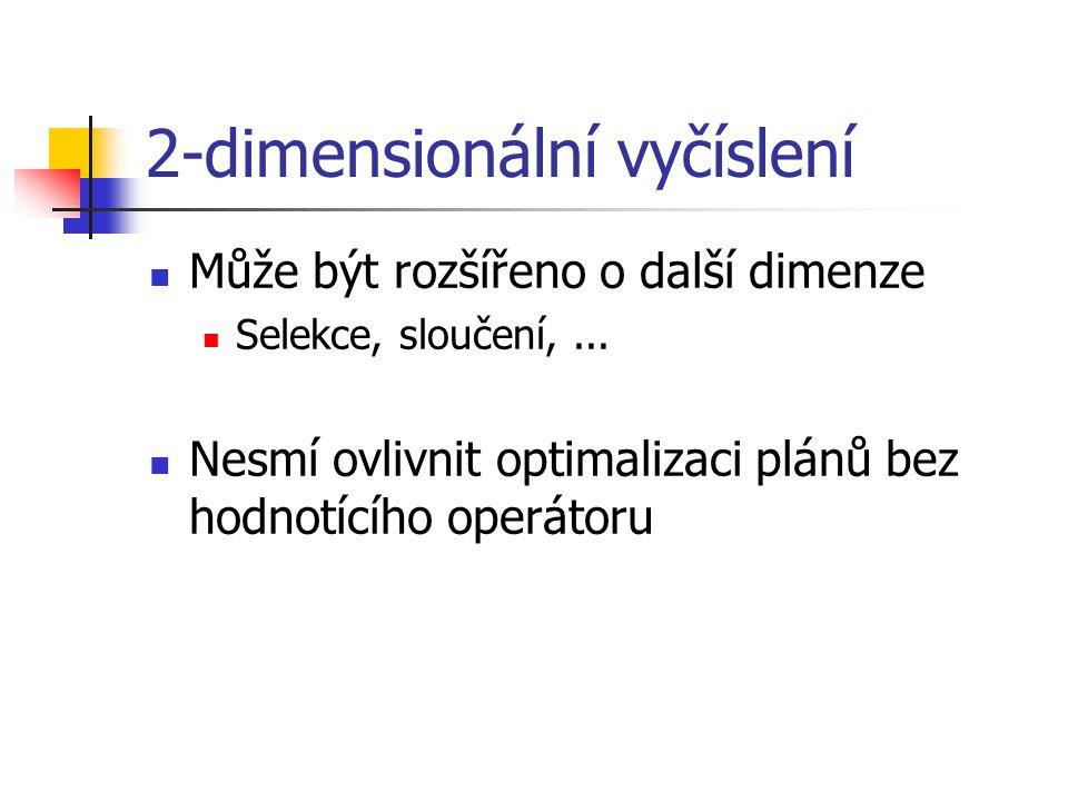 2-dimensionální vyčíslení Může být rozšířeno o další dimenze Selekce, sloučení,...