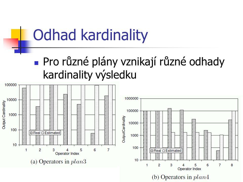 Odhad kardinality Pro různé plány vznikají různé odhady kardinality výsledku
