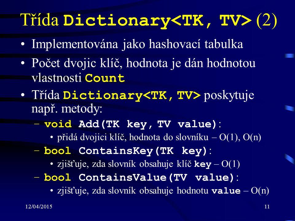 12/04/201511 Třída Dictionary (2) Implementována jako hashovací tabulka Počet dvojic klíč, hodnota je dán hodnotou vlastnosti Count Třída Dictionary poskytuje např.