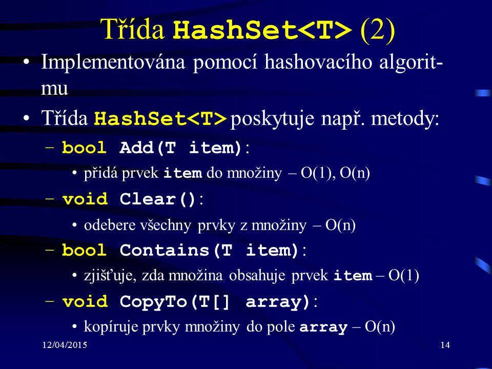 12/04/201514 Třída HashSet (2) Implementována pomocí hashovacího algorit- mu Třída HashSet poskytuje např. metody: –bool Add(T item) : přidá prvek ite