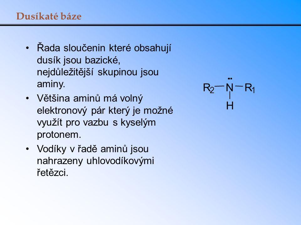 Dusíkaté báze Řada sloučenin které obsahují dusík jsou bazické, nejdůležitější skupinou jsou aminy. Většina aminů má volný elektronový pár který je mo