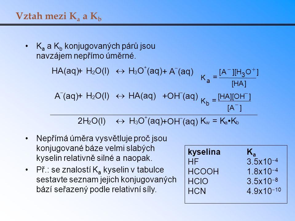 Vztah mezi K a a K b K a a K b konjugovaných párů jsou navzájem nepřímo úměrné. Nepřímá úměra vysvětluje proč jsou konjugované báze velmi slabých kyse