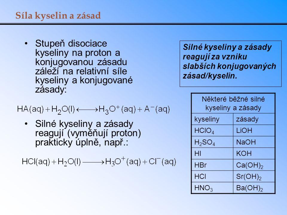 Síla kyselin a zásad Stupeň disociace kyseliny na proton a konjugovanou zásadu záleží na relativní síle kyseliny a konjugované zásady: Silné kyseliny