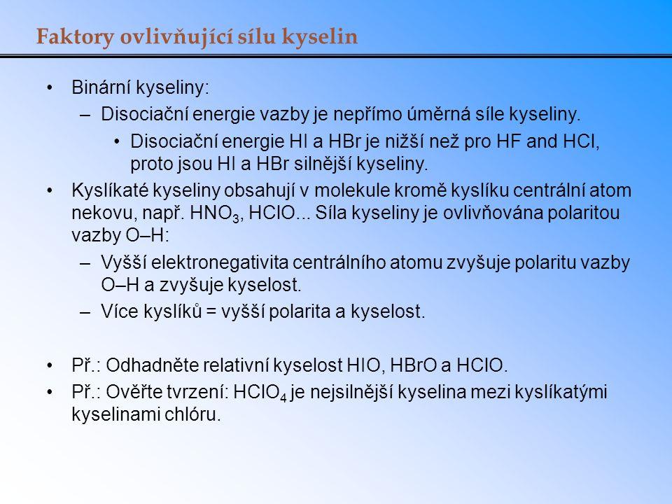Faktory ovlivňující sílu kyselin Binární kyseliny: –Disociační energie vazby je nepřímo úměrná síle kyseliny. Disociační energie HI a HBr je nižší než