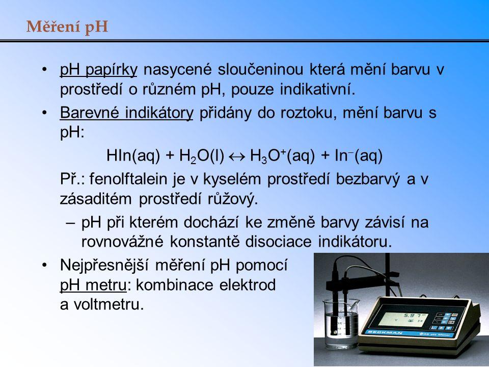 Měření pH pH papírky nasycené sloučeninou která mění barvu v prostředí o různém pH, pouze indikativní. Barevné indikátory přidány do roztoku, mění bar