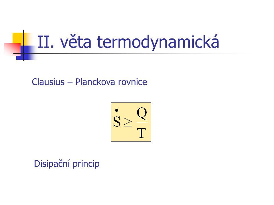II. věta termodynamická Clausius – Planckova rovnice Disipační princip