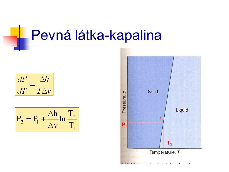 Pevná látka-kapalina 1 T1T1 P1P1