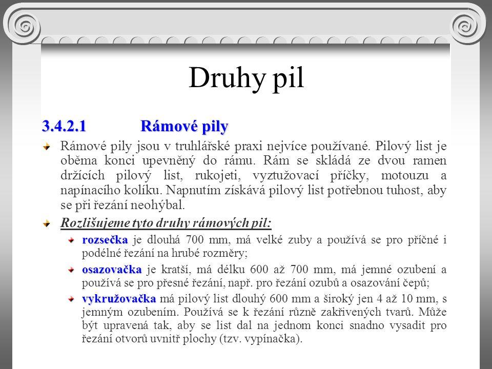 3.4.2 Druhy pil Ruční pily používané pro truhlářské práce se podle způsobu upevnění pilového listu dělí na rámové a vsazené (obr.3.6).