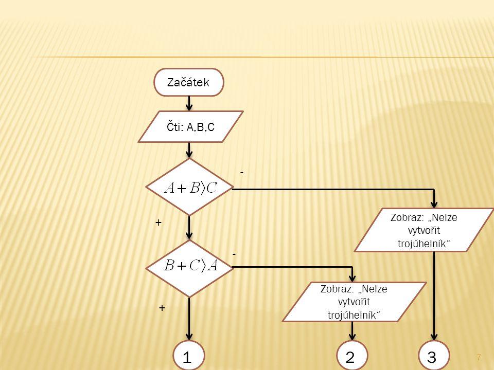 """7 Začátek Čti: A,B,C + - Zobraz: """"Nelze vytvořit trojúhelník - 123 +"""