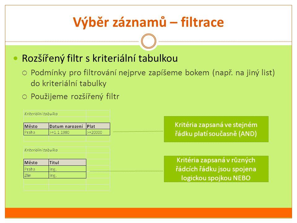 Výběr záznamů – filtrace Rozšířený filtr s kriteriální tabulkou  Podmínky pro filtrování nejprve zapíšeme bokem (např. na jiný list) do kriteriální t