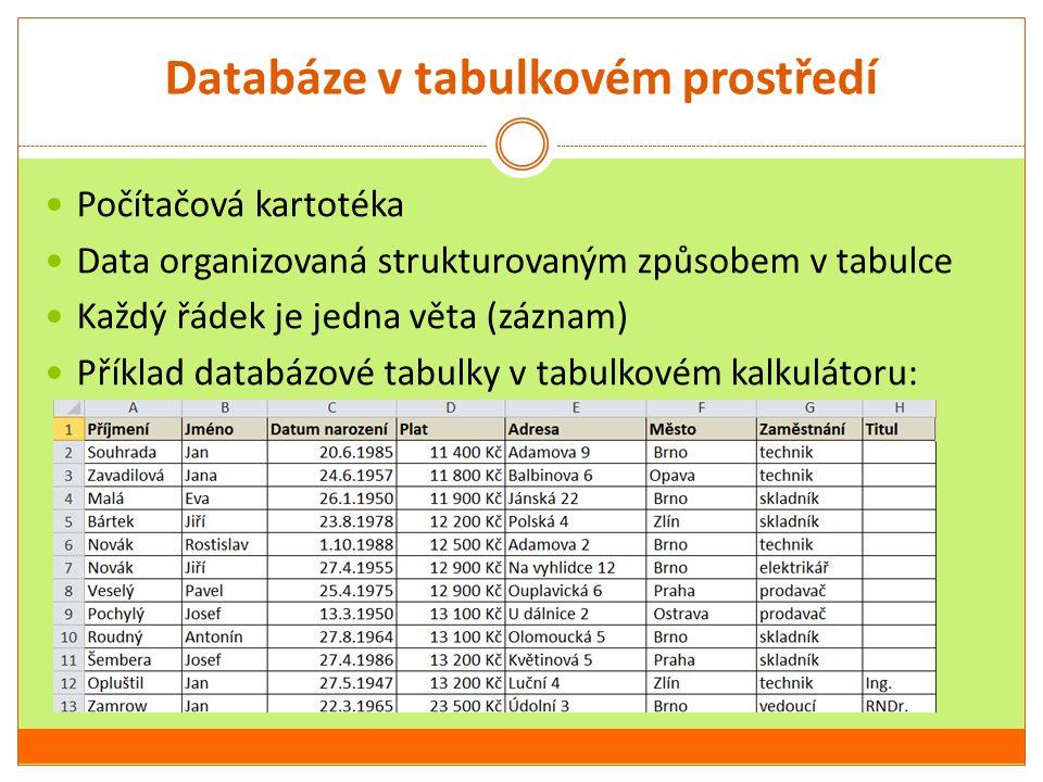 Databáze v tabulkovém prostředí Počítačová kartotéka Data organizovaná strukturovaným způsobem v tabulce Každý řádek je jedna věta (záznam) Příklad da