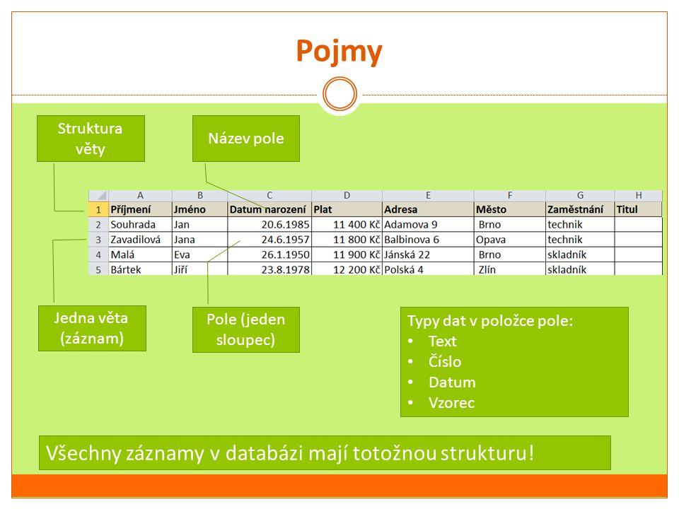 Pojmy Struktura věty Název pole Jedna věta (záznam) Pole (jeden sloupec) Typy dat v položce pole: Text Číslo Datum Vzorec Všechny záznamy v databázi m
